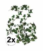 Afgeprijsde 2x groene klimop slinger 180 cm kunstplant