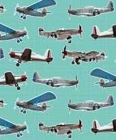 Afgeprijsde 2x inpakpapier cadeaupapier vliegtuigen 200 x 70 cm mintgroen