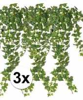 Afgeprijsde 3 x groene klimop 65 cm kunstplant takken