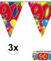 Afgeprijsde 3 x leeftijd vlaggenlijnen 90 jaar met sticker