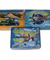 Afgeprijsde 3x kinderkamer oranje blauwe opbergbox opbergdoos set disney planes