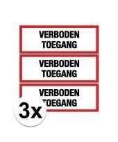 Afgeprijsde 3x verkeersbord stickers verboden toegang
