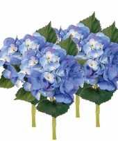 Afgeprijsde 4x blauwe kunst hortensia kunstbloemen 48 cm