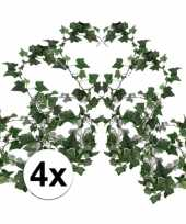 Afgeprijsde 4x groene klimop slinger 180 cm kunstplant