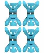 Afgeprijsde 4x kerstkaarten geboortekaartjes ophangen klemmen blauw zonder plakband spijkers schroev