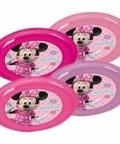 Afgeprijsde 4x roze paarse eetbordjes disney minnie mouse voor kinderen peuters
