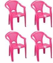 Afgeprijsde 4x tuinstoeltje roze plastic met dichte leuning 37 x 31 x 51 cm voor kinderen