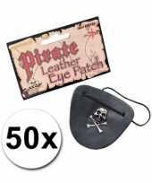 Afgeprijsde 50 piraat ooglapjes met doodshoofd