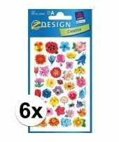 Afgeprijsde 6 vellen met bloemen stickers