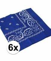 Afgeprijsde 6x blauwe bandana zakdoek