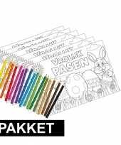 Afgeprijsde 6x kleurplaten pasen met kleurpotloodjes