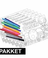 Afgeprijsde 6x pasen kleurplaten placemats met stiften