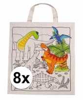 Afgeprijsde 8 stuks inkleurbaar tasjes met dinosaurus motief