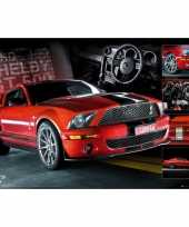 Afgeprijsde auto poster ford mustang rood 61 x 91 5 cm