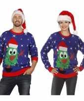 Afgeprijsde blauwe trui voor kerst met kerstboom