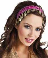 Afgeprijsde carnaval esmeralda buikdanseres hoofdband fuchsia roze voor dames