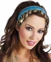 Afgeprijsde carnaval esmeralda buikdanseres hoofdband turquoise blauw voor dames