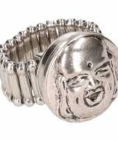 Afgeprijsde chunkring zilveren boeddha voor volwassenen