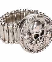 Afgeprijsde chunkring zilveren doodskop voor volwassenen