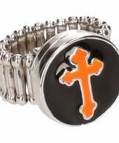 Afgeprijsde chunkring zilveren oranje kruis voor volwassenen