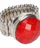 Afgeprijsde chunkring zilveren rode steen voor volwassenen