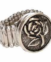 Afgeprijsde chunkring zilveren roos voor volwassenen