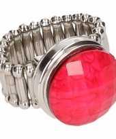 Afgeprijsde chunkring zilveren roze steen voor volwassenen