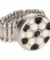 Afgeprijsde chunkring zilveren voetbal voor volwassenen