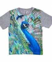 Afgeprijsde dieren shirts met fotoprint van pauw voor kinderen