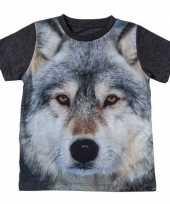 Afgeprijsde dieren shirts met fotoprint van wolf voor kinderen