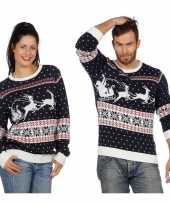Afgeprijsde donkerblauwe trui voor kerst met rendieren