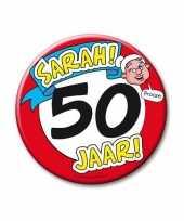 Afgeprijsde extra grote button 50 jaar sarah stopbord 10 cm