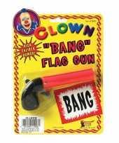 Afgeprijsde feest fun pistool met bang vlaggetje 10 cm