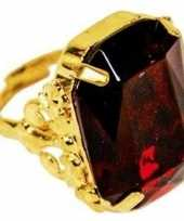 Afgeprijsde feest sinterklaasring verkleedaccessoire goud rode verstelbare ring voor heren