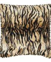 Afgeprijsde fluwelen kussen met tijgerprint 47 x 47 cm
