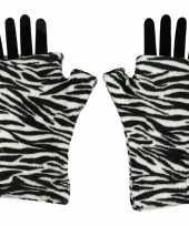 Afgeprijsde handschoenen zonder vingers zebra voor volwassenen