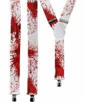 Afgeprijsde horror witte verkleed bretels met bloed spetters voor volwassenen