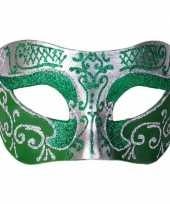 Afgeprijsde italiaans oogmasker glitter groen zilver