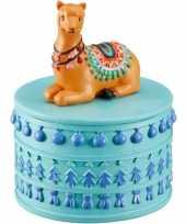 Afgeprijsde juwelenkistje juwelenbox rond lama alpaca 10 x 8 cm van steen