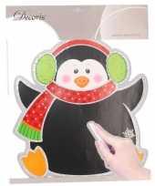 Afgeprijsde kerstversiering muursticker pinguin 31 x 38 cm met beschrijfbaar vlak