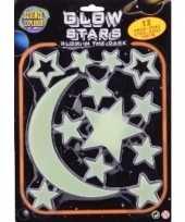 Afgeprijsde kinderkamer decoratie plastic sterren maan geel 13 stuks glow in the dark