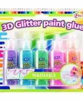 Afgeprijsde knutselspullen kleurlijm met glitters