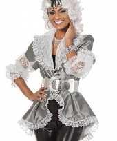 Afgeprijsde luxe piraten dames blouse zilver