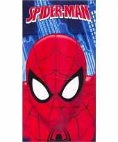 Afgeprijsde marvel spiderman gezicht badlaken strandlaken blauw 70 x 140 cm