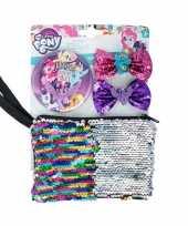 Afgeprijsde my little pony pailletten tasje met spiegel en haarclips voor meisjes