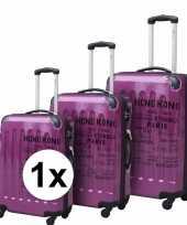 Afgeprijsde paarse bagage rolkoffer met cijferslot 69 cm