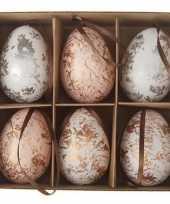 Afgeprijsde paastakdecoratie kippen ei 6 stuks