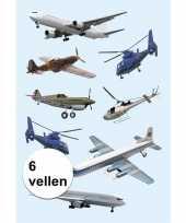 Afgeprijsde papieren stickers helikopters 6 stuks