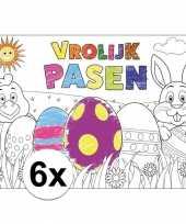 Afgeprijsde pasen kleurplaat placemats 6 stuks voor paasontbijt paaslunch