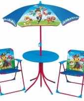Afgeprijsde paw patrol tuinstoelen met tafel en parasol